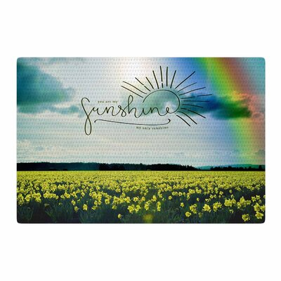 Robin Dickinson You are My Sunshine, Rainbow Blue/Yellow Area Rug Rug Size: 4 x 6