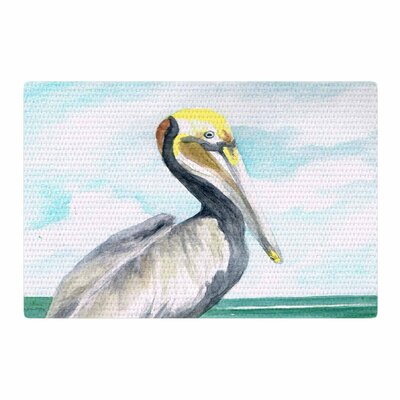 Rosie Brown Pelican Coastal Watercolor White Area Rug Rug Size: 4 x 6