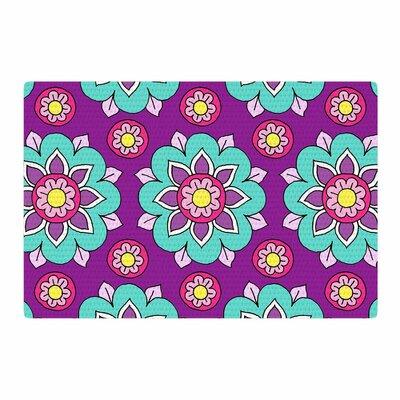 Sarah Oelerich Bright Blossoms Aqua/Purple Area Rug Rug Size: 2 x 3