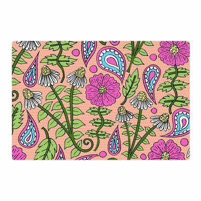 Sarah Oelerich Peach Floral Paisley Pink/Green Area Rug Rug Size: 4 x 6