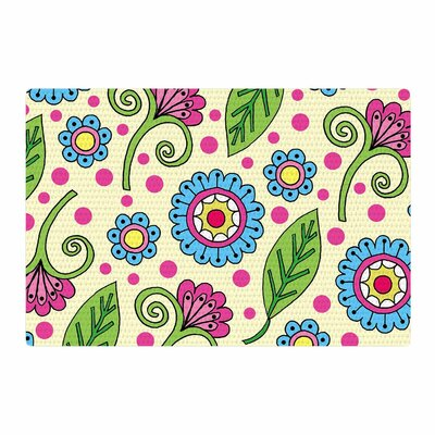 Sarah Oelerich Polka Dot Garden Floral Pattern Blue/Pink/Yellow Area Rug Rug Size: 2 x 3