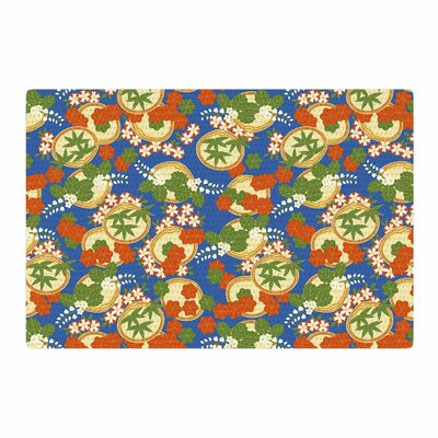 Setsu Egawa Clam and Paulownia Blue/Orange Area Rug Rug Size: 2 x 3