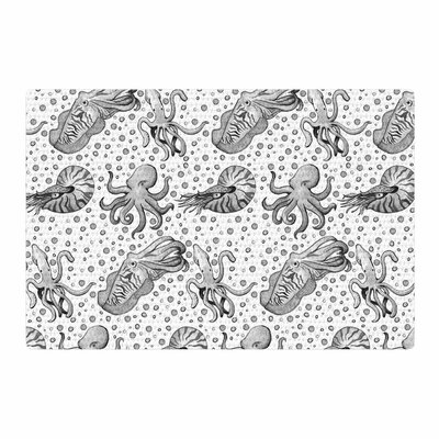 Stephanie Vaeth Cephalopods Gray/White Area Rug Rug Size: 4 x 6
