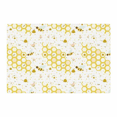 Stephanie Vaeth Honey Bees White/Yellow Area Rug Rug Size: 2 x 3