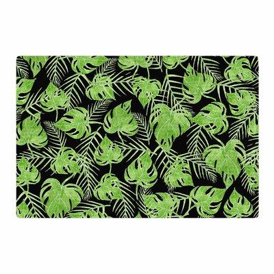 Strawberringo Leaves Black/Green Area Rug Rug Size: 2' x 3'