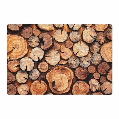 Susan Sanders Rustic Wood Logs Brown/Tan Area Rug Rug Size: 4 x 6