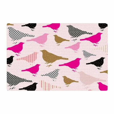 Suzanne Carter Chirp Bird Pattern Pink/Black Area Rug Rug Size: 2 x 3