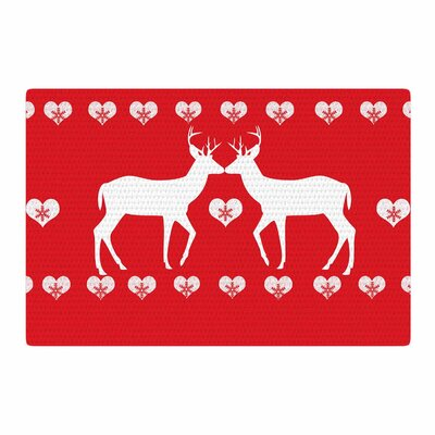 Suzanne Carter Christmas Deer 2 Holiday Pattern Red/White Area Rug Rug Size: 2' x 3'