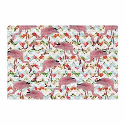 Suzanne Carter Flamingo Chevron and Roses Digital Pink Area Rug Rug Size: 2 x 3