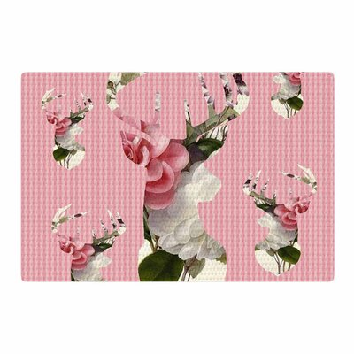 Suzanne Carter Floral Deer Pink/White Area Rug Rug Size: 4 x 6