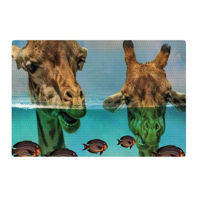 Suzanne Carter Larry and Fred Periscope Mixed Media Animals Blue/Brown Area Rug Rug Size: 2 x 3