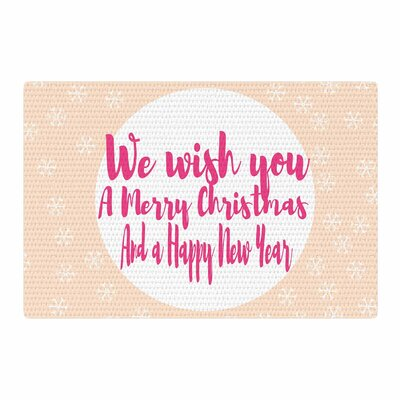 Suzanne Carter Merry Chistmas and Happy New Year Peach/Pink Area Rug Rug Size: 2 x 3