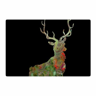 Suzanne Carter Paisley Deer Abstract Black/Green Area Rug Rug Size: 2 x 3