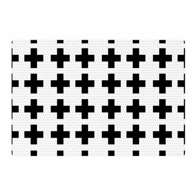 Suzanne Carter Swedish Cross Black/White Area Rug Rug Size: 2' x 3'