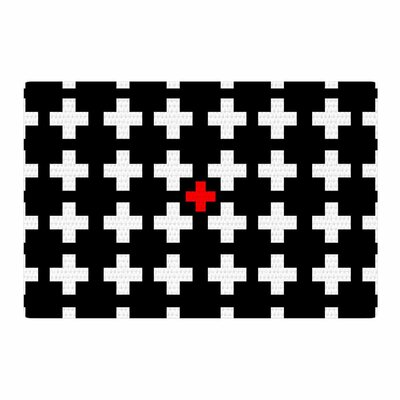 Suzanne Carter Swiss Cross Black/White Area Rug Rug Size: 4 x 6