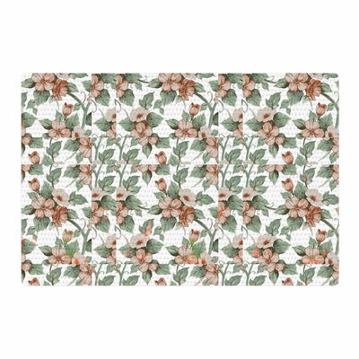 Suzanne Carter Vintage Flowers Green/Pink Area Rug Rug Size: 2' x 3'