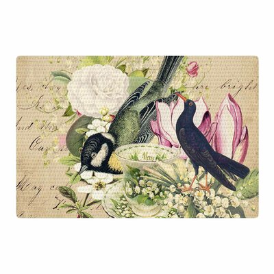Suzanne Carter Vintage Tea Bird Illustration Beige/Green Area Rug Rug Size: 4 x 6