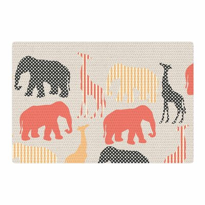 Suzanne Carter Zoo Beige/Coral/Black Area Rug Rug Size: 2 x 3