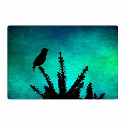 Sylvia Coomes Bird Silhouette Teal/Black Area Rug Rug Size: 2 x 3