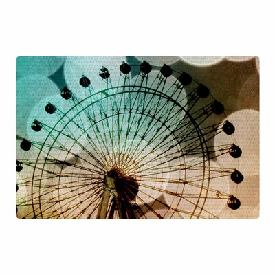 Sylvia Coomes Ferris Wheel Silhouette Beige/Teal Area Rug Rug Size: 2 x 3