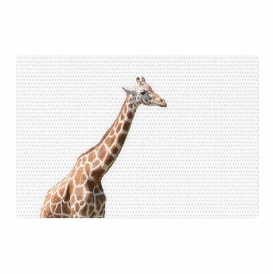 Sylvia Coomes Giraffe Animals Photography White/Brown Area Rug Rug Size: 2 x 3