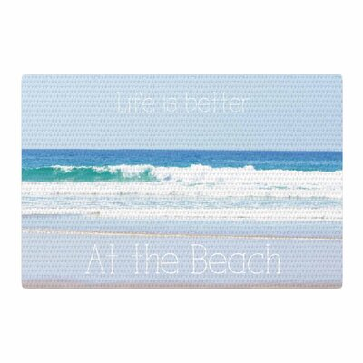 Sylvia Coomes Life is Better at The Beach Tan/Blue Area Rug Rug Size: 2 x 3