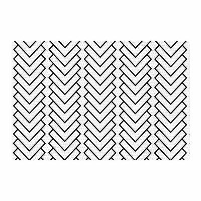 Trebam Kamara Chevron White/Black Area Rug Rug Size: 2 x 3