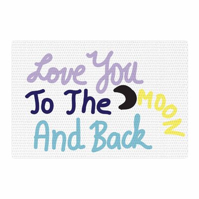 Vasare Nar Love You To the Moon and Back Vector Pastel Area Rug Rug Size: 4 x 6