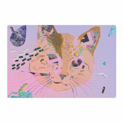 Vasare Nar Psychedelic Cat Pastel/Lavender Area Rug Rug Size: 4 x 6