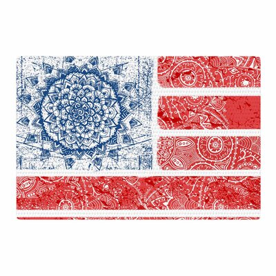 Victoria Krupp Americana Mandala Flag Holiday Red Area Rug Rug Size: 4 x 6