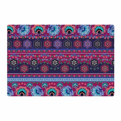 Victoria Krupp Folkloric Border Abstract Blue Area Rug Rug Size: 4 x 6