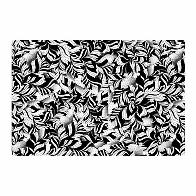 Victoria Krupp Monochrome Leaves Mosaic Black/Nature Area Rug Rug Size: 4 x 6