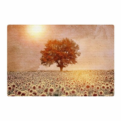 Viviana Gonzalez Lone Tree and Sunflowers Field Sunny Nature Area Rug Rug Size: 4 x 6