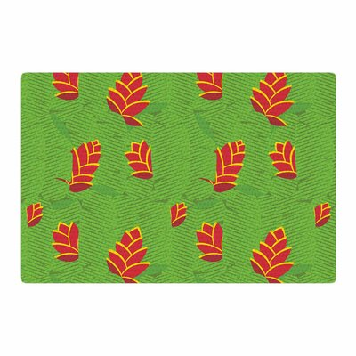 Yenty Jap Heliconia Green/Red Area Rug Rug Size: 2 x 3
