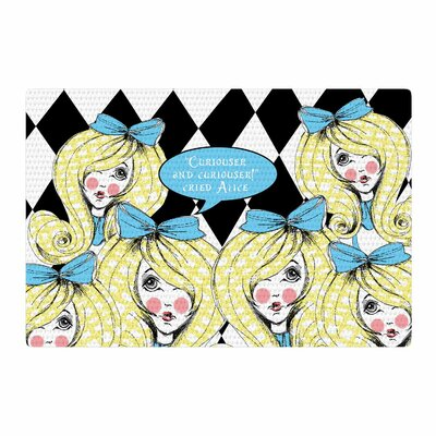 Zara Martina Curious Alice Blue/Black Area Rug Rug Size: 2 x 3