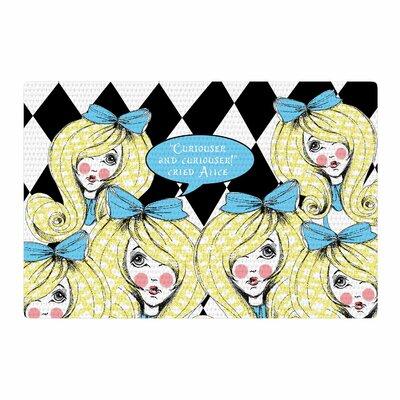 Zara Martina Curious Alice Blue/Black Area Rug Rug Size: 2 x 3