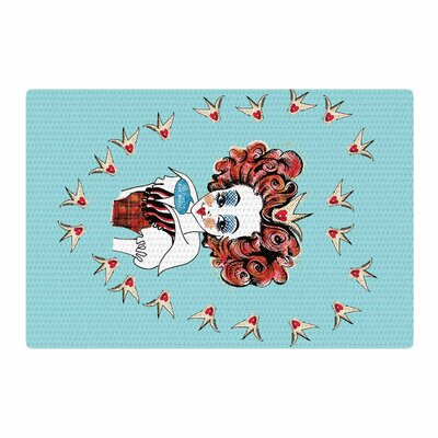 Zara Martina Off with Her Head Red/Teal Area Rug Rug Size: 2 x 3