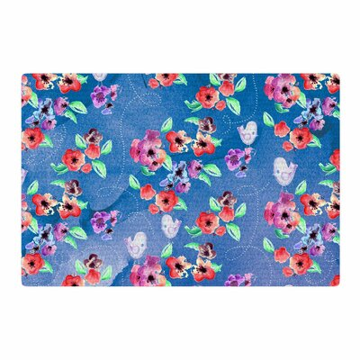 Zara Martina Mansen Signs of Spring Blue/Red Area Rug Rug size: 4 x 6