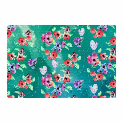 Zara Martina Mansen Spring Birds on Teal Green/Purple Area Rug Rug size: 4 x 6