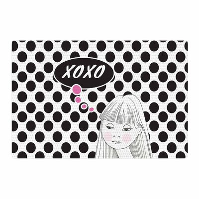 Zara Martina Mansen XOXO Pop Art Polka Dot Girl White/Black Area Rug Rug size: 4 x 6