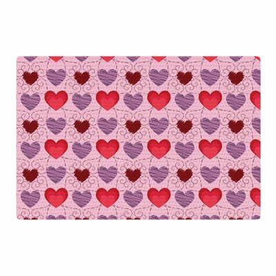 Mydeas Fancy Scribbled Hearts Pattern Vector Pink/Red Area Rug Rug Size: 2 x 3