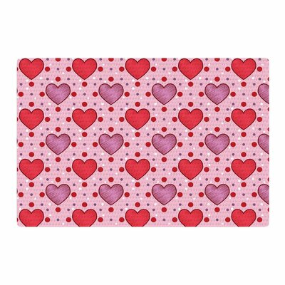 Mydeas Colored Candy Hearts Dotted Vector Pink/Red Area Rug Rug Size: 2 x 3