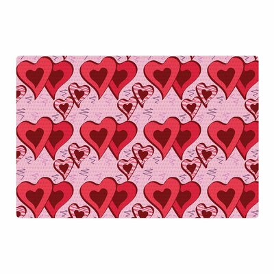 Mydeas Scribbled Hearts Pattern Vector Pink/Red Area Rug Rug Size: 2 x 3