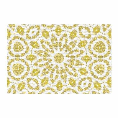 Alison Coxon Flaxen Mandala White/Yellow Digital Area Rug Rug Size: 2 x 3