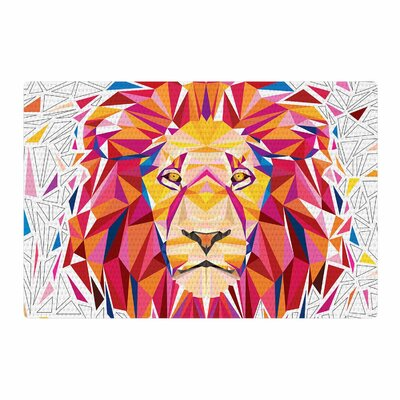 Ancello Rainbow Lion Digital Pink/Orange Area Rug Rug Size: 2 x 3