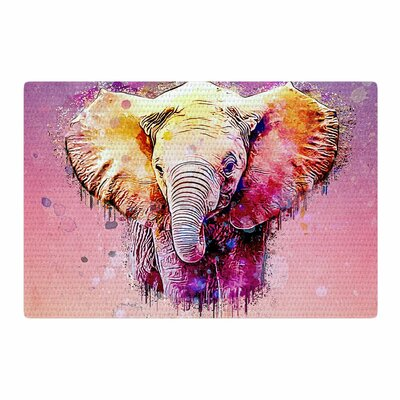Ancello Watercolor Elephant Digital Purple/Orange Area Rug Rug Size: 2 x 3