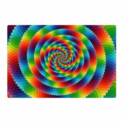 Ancello Rainbow Spectrum Spirograph Digit Red/Green Area Rug Rug Size: 4 x 6