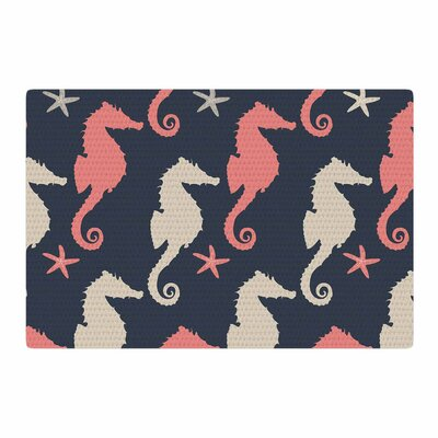 Afe Images Grand Seahorses Coral/Gray Digital Area Rug Rug Size: 2 x 3