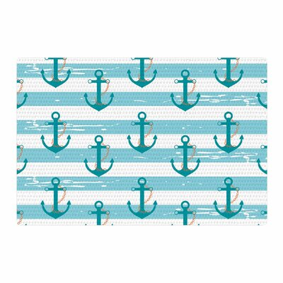 Afe Images Nautical Anchor Pattern Illustration Teal/Blue Area Rug Rug Size: 4 x 6