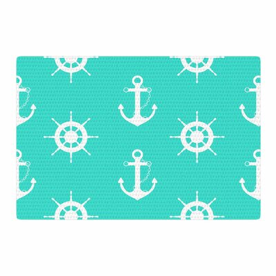 Afe Images Anchor And Helm Wheel Illustration Teal/White Area Rug Rug Size: 2 x 3